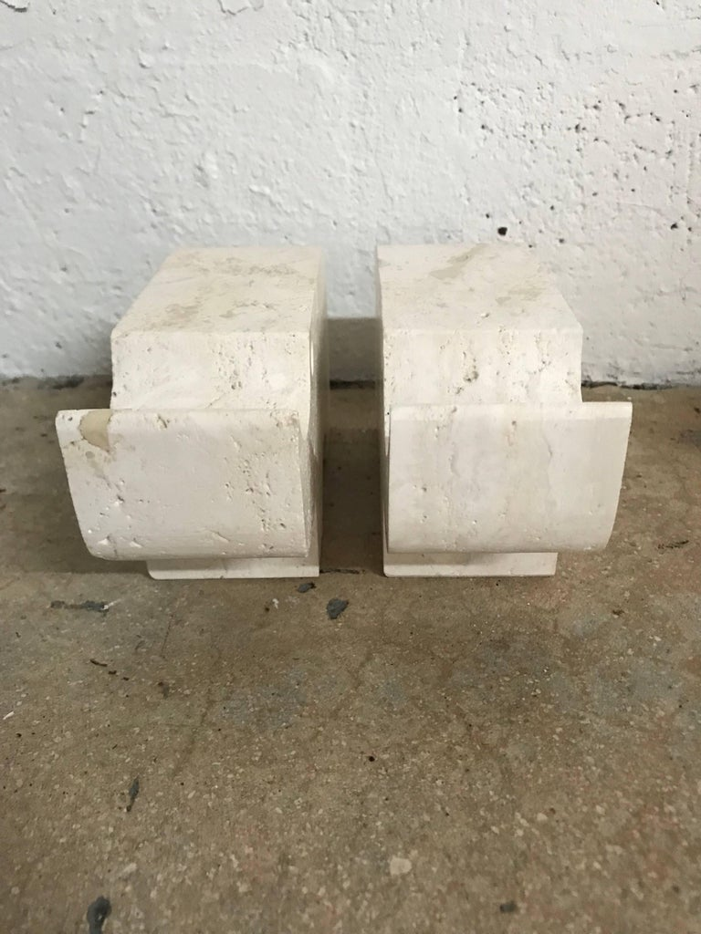 Mid-Century Modern Pair of Italian Modern Travertine Rhinoceros Statues by Flli Mannelli for Raymor For Sale