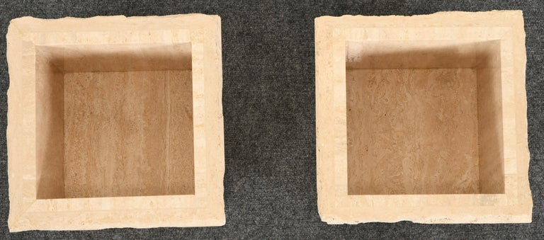 Mid-Century Modern Pair of Travertine Roche Bobois Style Marble Planters, 1970s For Sale