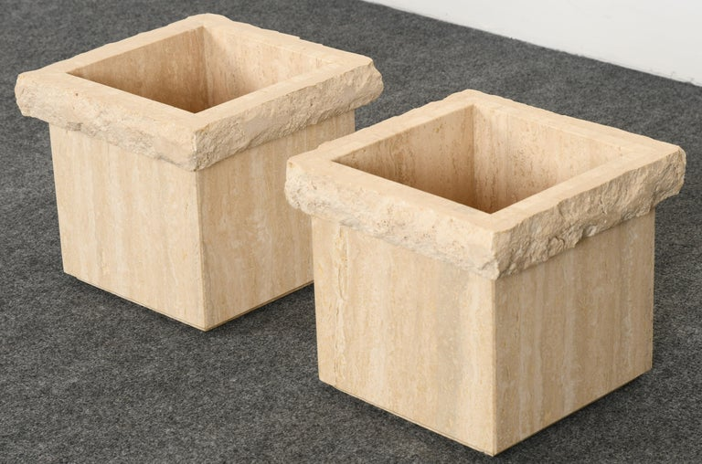 Italian Pair of Travertine Roche Bobois Style Marble Planters, 1970s For Sale