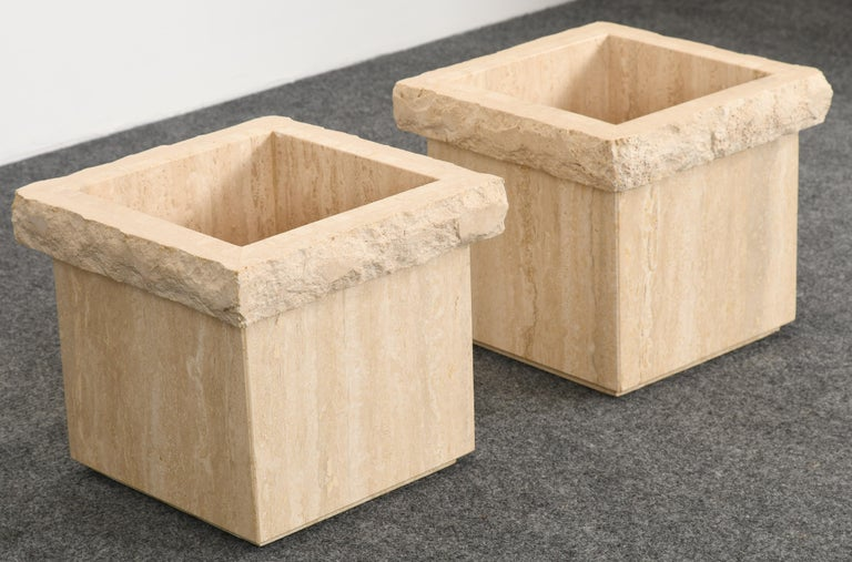 Pair of Travertine Roche Bobois Style Marble Planters, 1970s In Good Condition For Sale In Hamburg, PA
