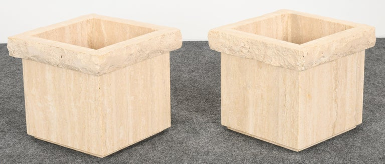 Late 20th Century Pair of Travertine Roche Bobois Style Marble Planters, 1970s For Sale