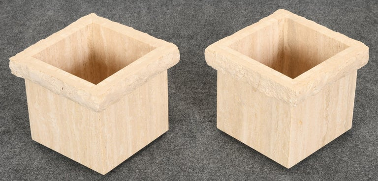 Pair of Travertine Roche Bobois Style Marble Planters, 1970s For Sale 1