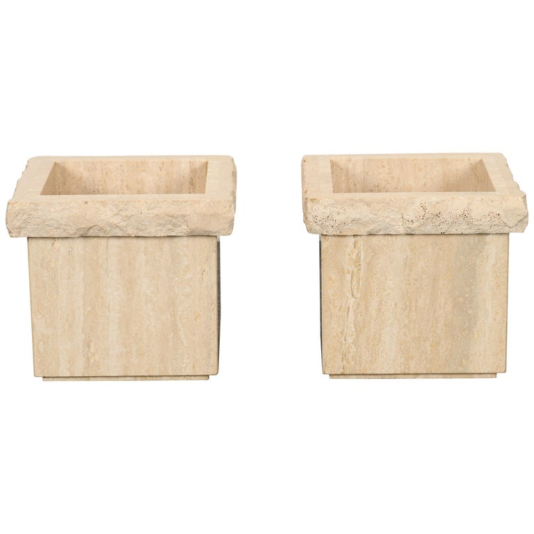Pair of Travertine Roche Bobois Style Marble Planters, 1970s For Sale