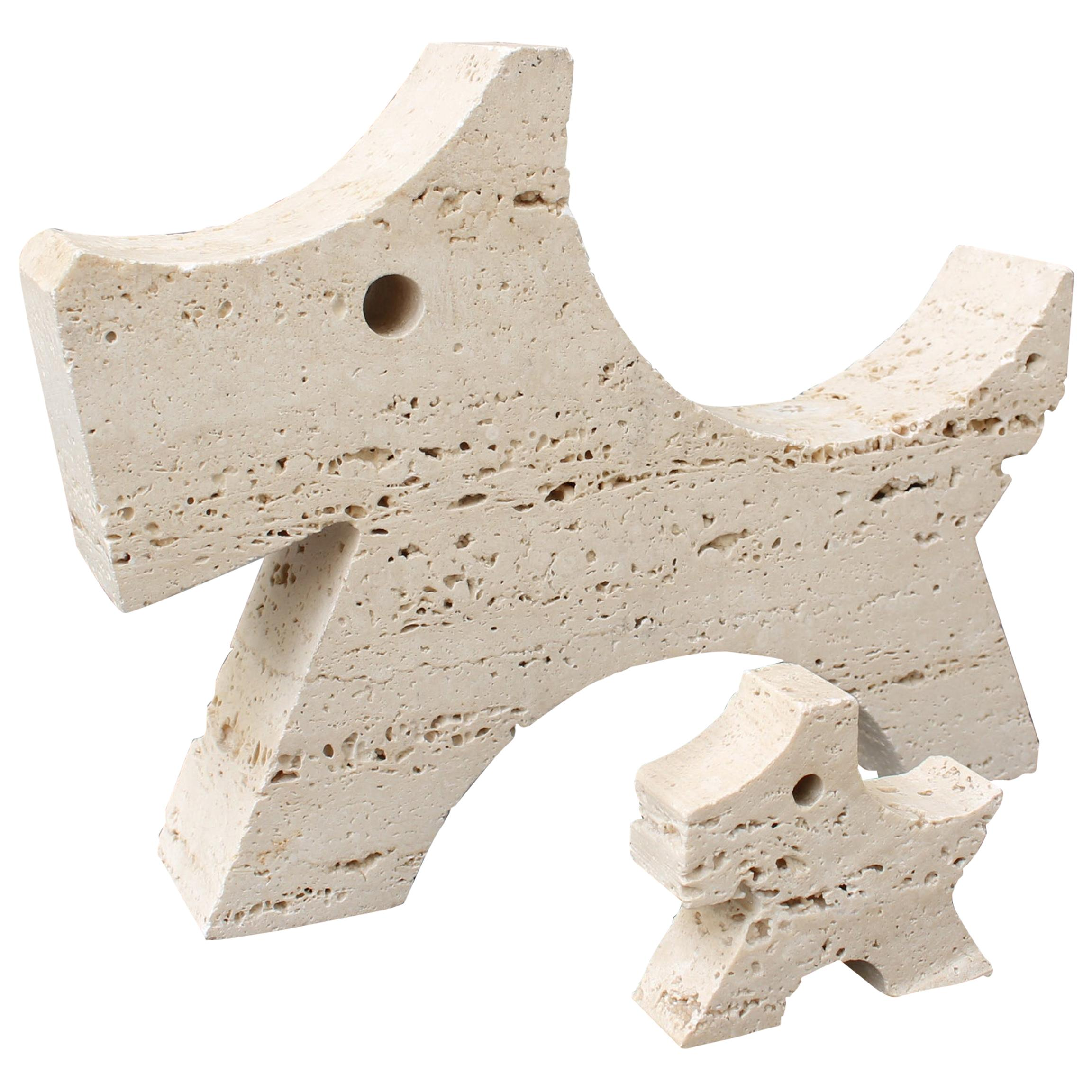 Pair of Travertine Scottish Terrier Desk Sculptures by Fratelli Mannelli