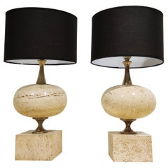 Pair of Travertine Table Lamps by Maison Barbier, 1970s