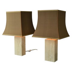 Pair of Travertine Table Lamps, Europe, 1970s