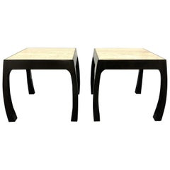 Pair of Harvey Probber Travertine Top End Tables
