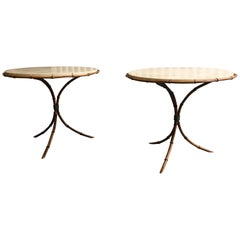 Pair of Travertine Top Bamboo Tripod Base Tables