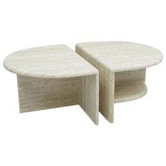 Pair of Travertine Twin Coffee or Side Tables, Italy, 1970s