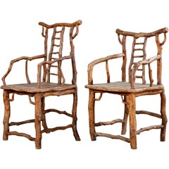 Pair of Tree Branch Rustic Armchairs