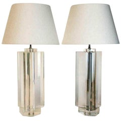 Pair of Trefoil Lucite Table Lamps by Les Prismatiques