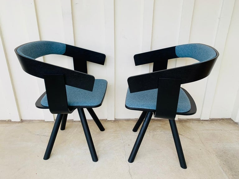 Modern Pair of Trestle Base Chairs by Alain Gilles Buzzi Space-Buzzi Float For Sale