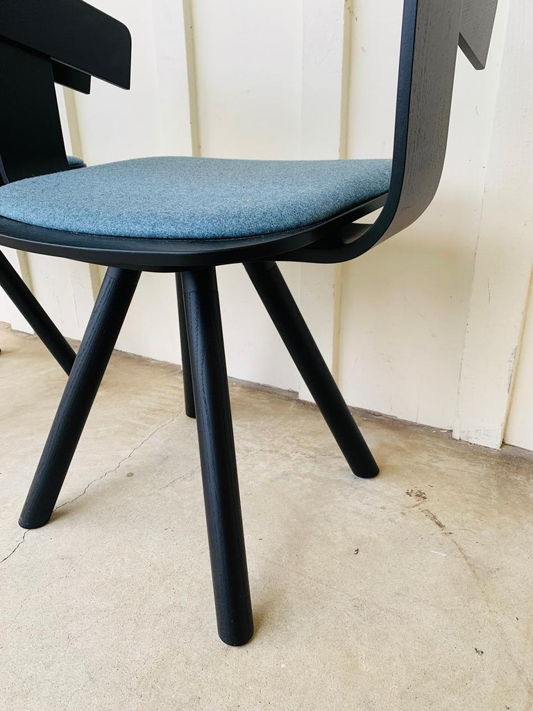 Belgian Pair of Trestle Base Chairs by Alain Gilles Buzzi Space-Buzzi Float For Sale