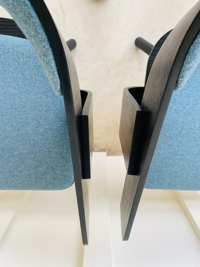 Contemporary Pair of Trestle Base Chairs by Alain Gilles Buzzi Space-Buzzi Float For Sale