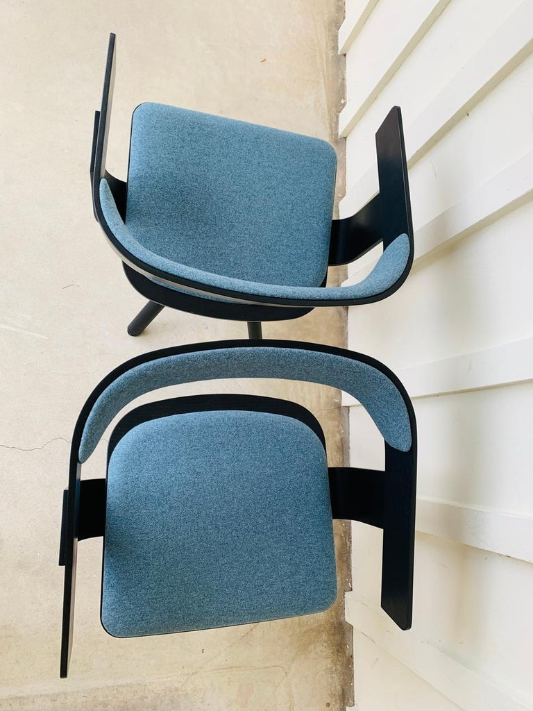 Pair of Trestle Base Chairs by Alain Gilles Buzzi Space-Buzzi Float For Sale 2