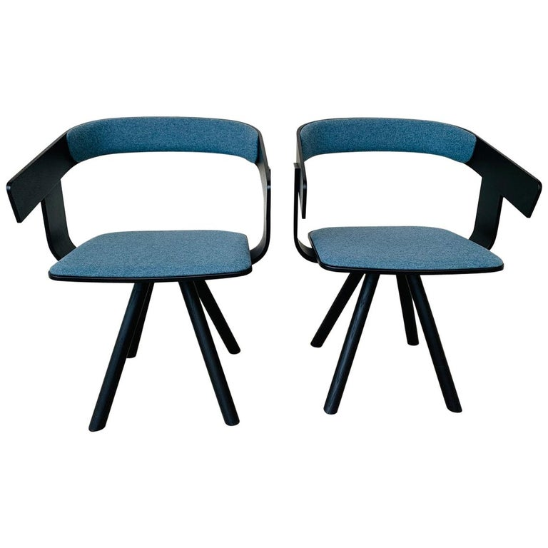 Pair of Trestle Base Chairs by Alain Gilles Buzzi Space-Buzzi Float For Sale