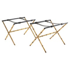 Pair of Trestles Decorated with Faux-Bamboo in Copper