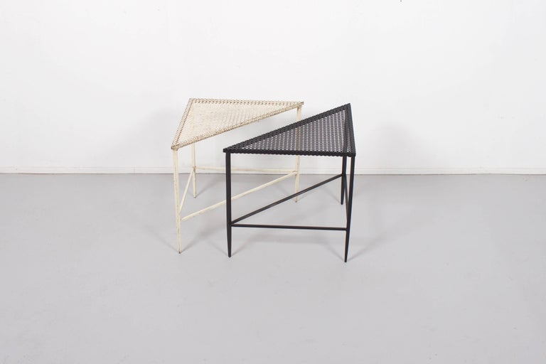 Dutch Pair of Triangular Mathieu Matégot Tables for Artimeta, 1950s For Sale