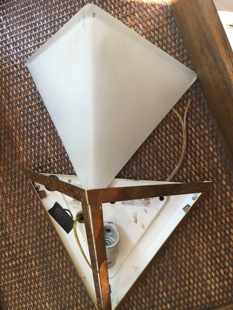 Brass Pair of Triangular Opaque Glass Wall Sconces from a 1970s Cruise Ship Stateroom For Sale