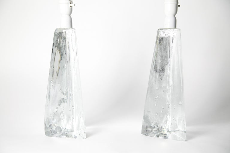Swedish Pair of Triangular Solid Clear Aneta Lamps, Sweden, 1980 For Sale