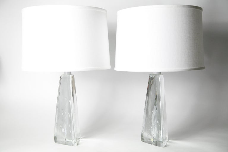 Hand-Crafted Pair of Triangular Solid Clear Aneta Lamps, Sweden, 1980 For Sale