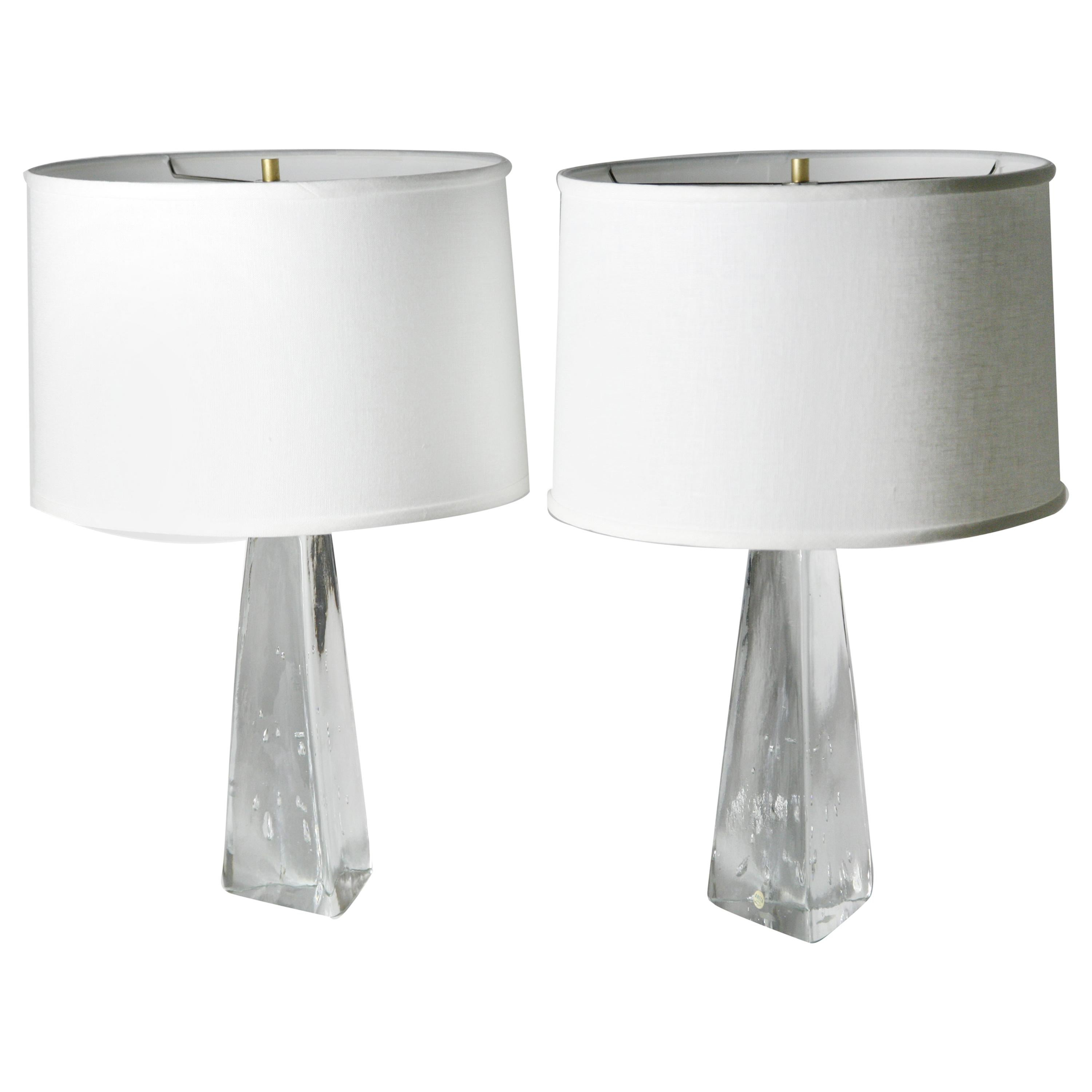 Pair of Triangular Solid Clear Aneta Lamps, Sweden, 1980
