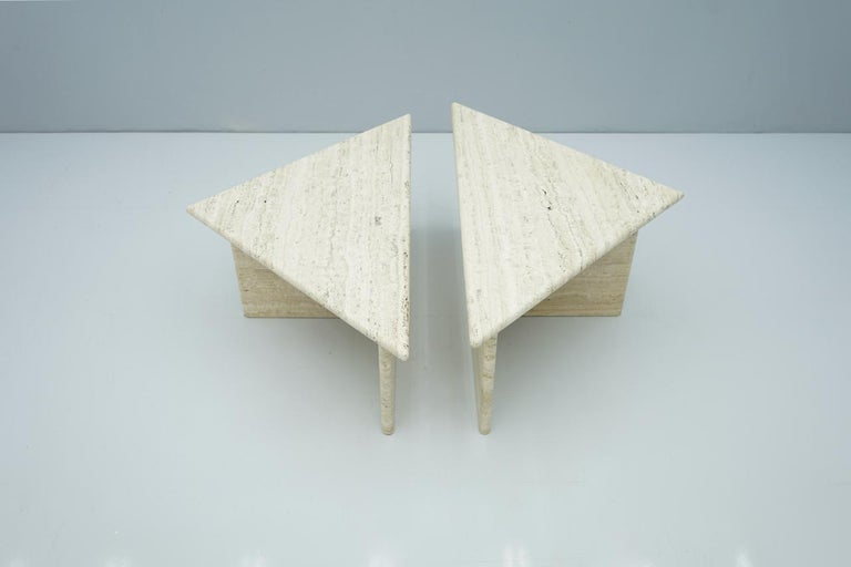 Italian Pair of Triangular Travertine Side or Coffee Table, Italy, 1970s For Sale