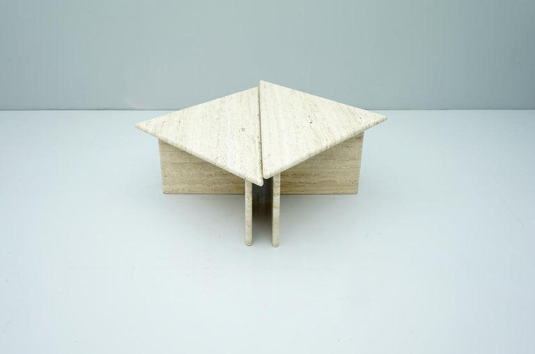 Pair of Triangular Travertine Side or Coffee Table, Italy, 1970s For Sale 2