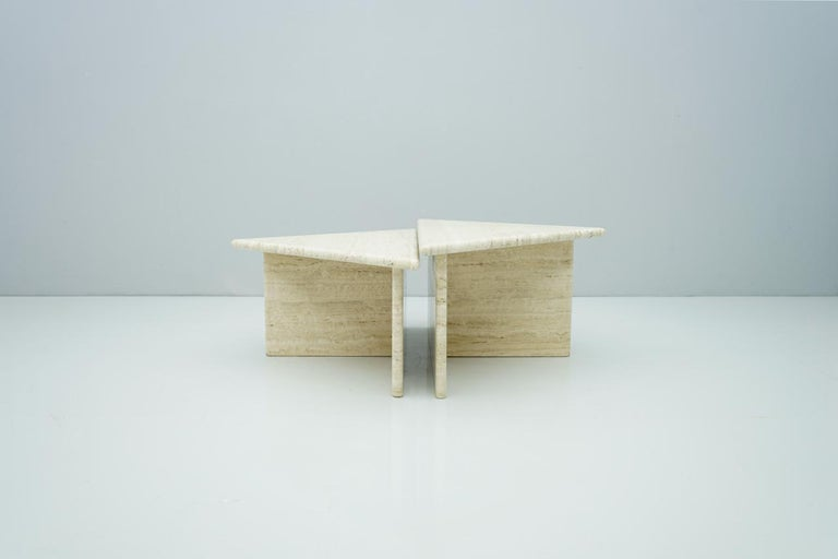 Pair of Triangular Travertine Side or Coffee Table, Italy, 1970s For Sale 3