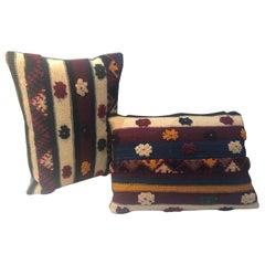 Pair of Tribal Wool Vintage Kilim Cushions