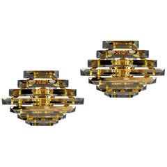 Pair of Triedi Murano Glass Contemporary Wall lights or Sconces