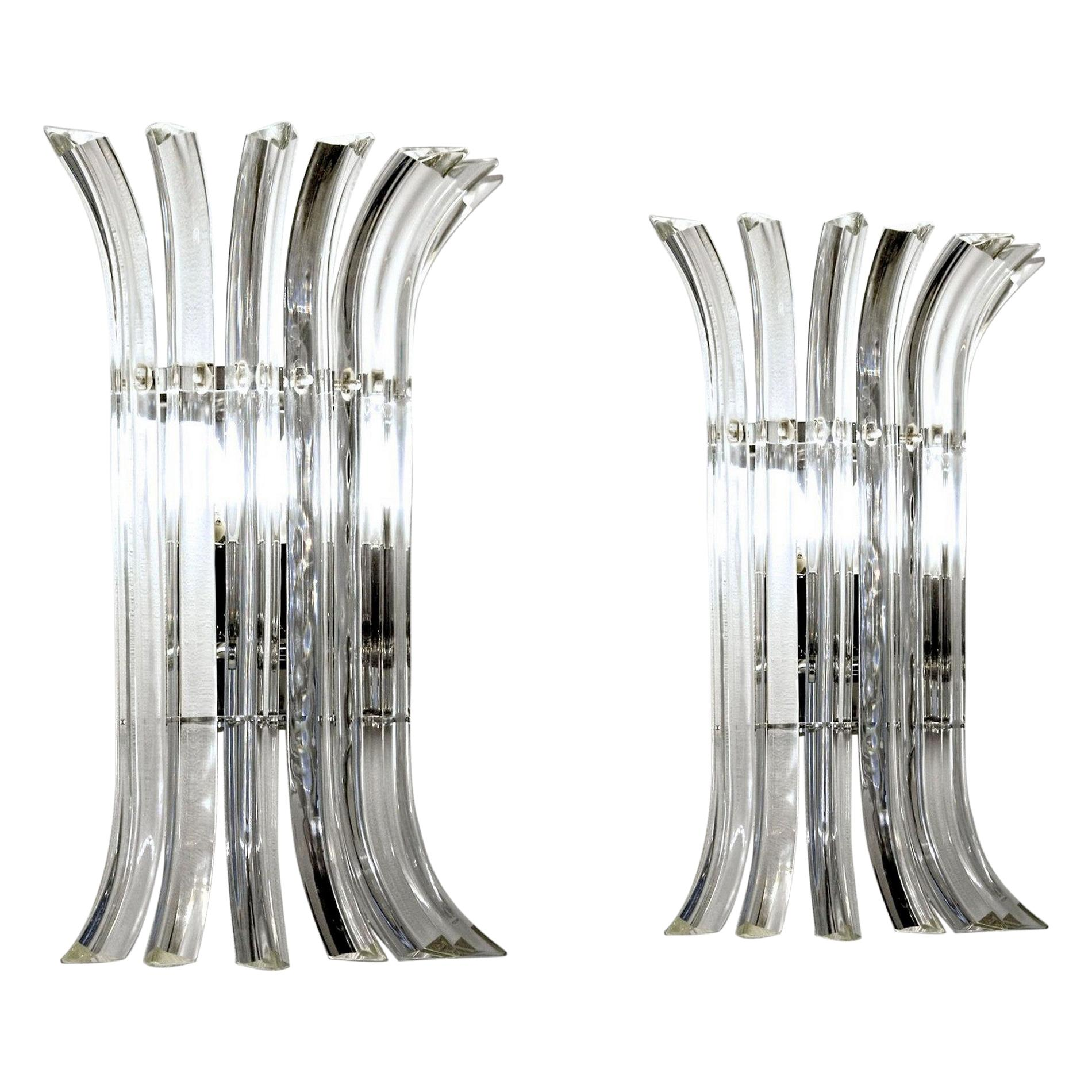 Pair of Triedri Sconces, Clear Glass, Murano, Four Sets Available, New Hardware