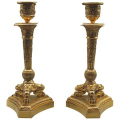Pair of Triform Candle Sticks, 19th Century Ormolu on Lion's Paw Feet