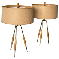 Pair of Mid Century Modern Tripod Table Lamps by Gerald Thurston for Lightolier