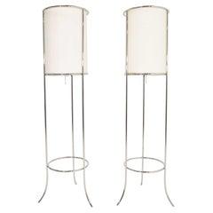 Pair of Tripod Nickel Floor Lamps by T.H. Robsjohn-Gibbings for Hansen