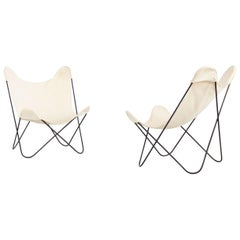 "Gastone Rinaldi Italian Pair of White ""Tripolina"" Chairs Manufactured by Rima"
