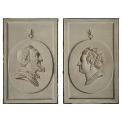 Pair of Trompe L'Oeil Busts, Oil on Canvas