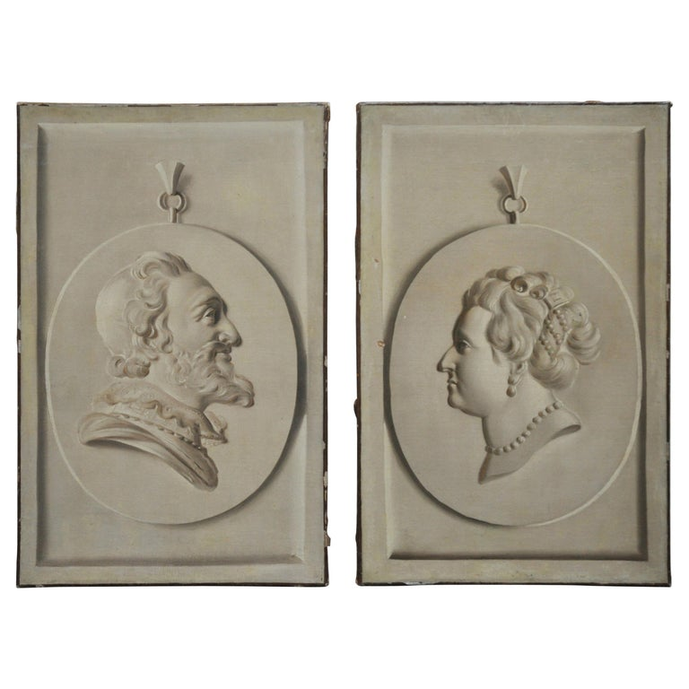 Pair of Trompe L'Oeil Busts, Oil on Canvas For Sale