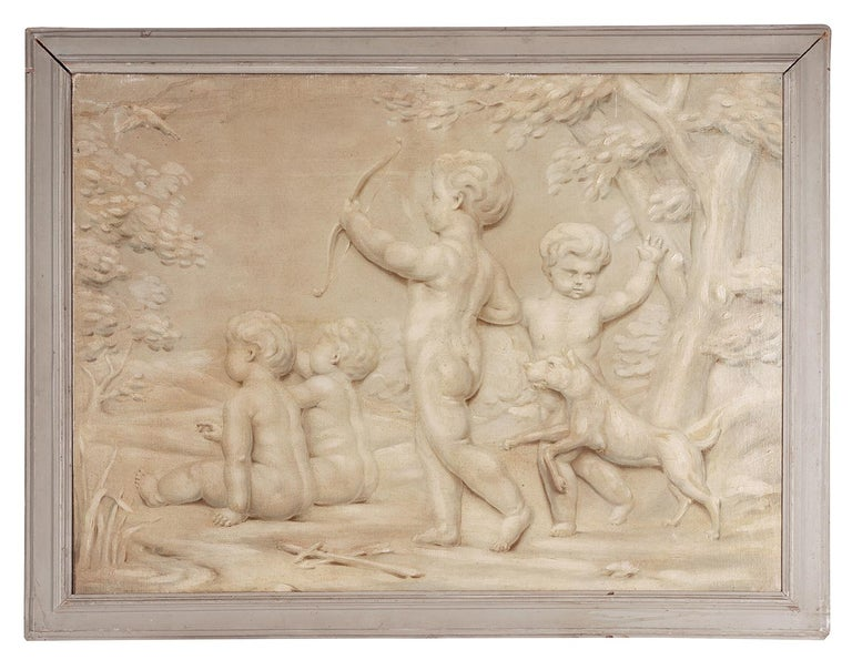 An impressive pair of 19th century oil on canvas trompe l'oeil paintings depicting cherubs playing on the back of a goat and hunting in the garden.