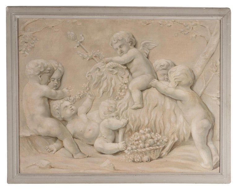 Romantic Pair of Trompe L'oeil Painting of Cherubs Playing, 19th Century For Sale