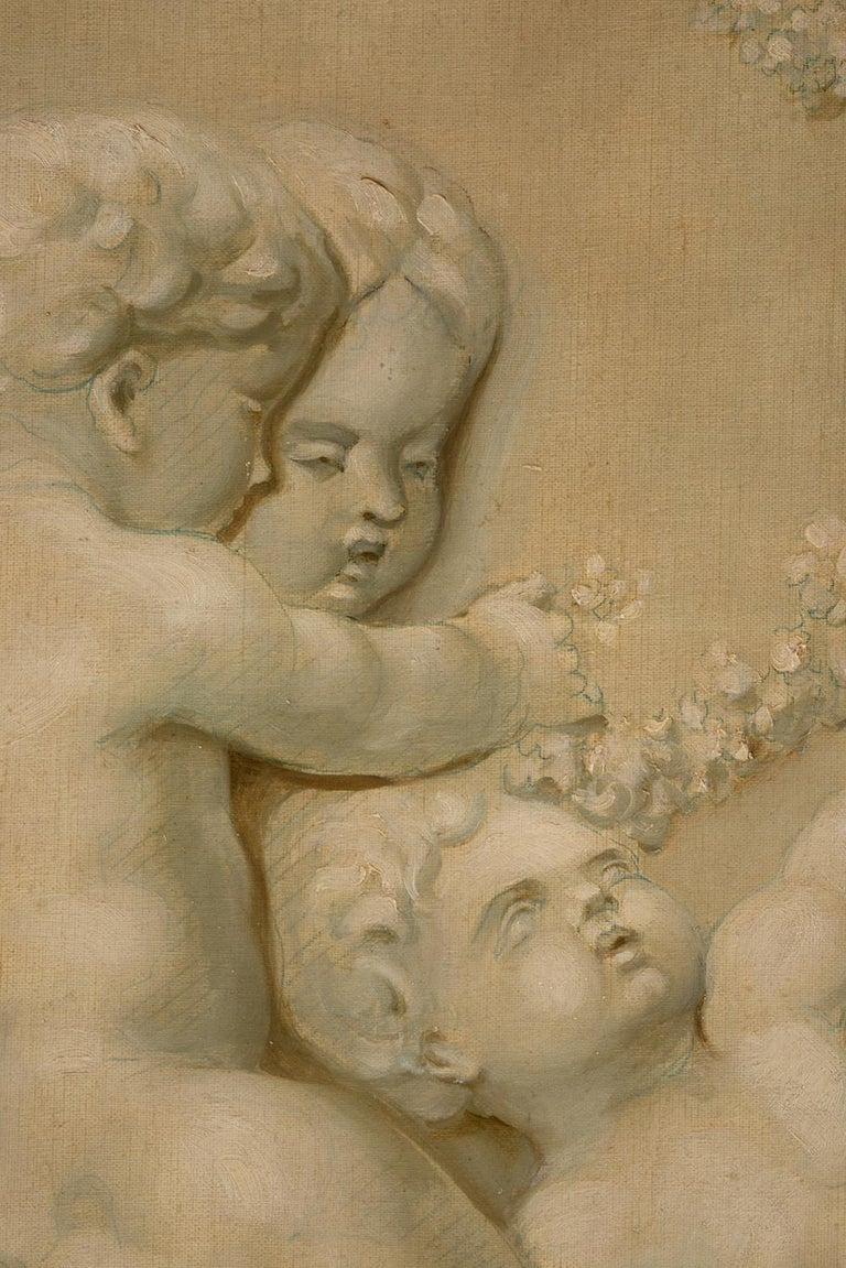 Pair of Trompe L'oeil Painting of Cherubs Playing, 19th Century For Sale 3