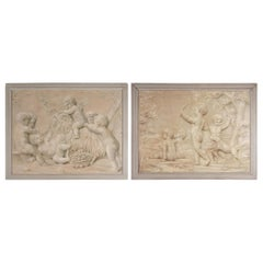 Pair of Trompe L'oeil Painting of Cherubs Playing, 19th Century