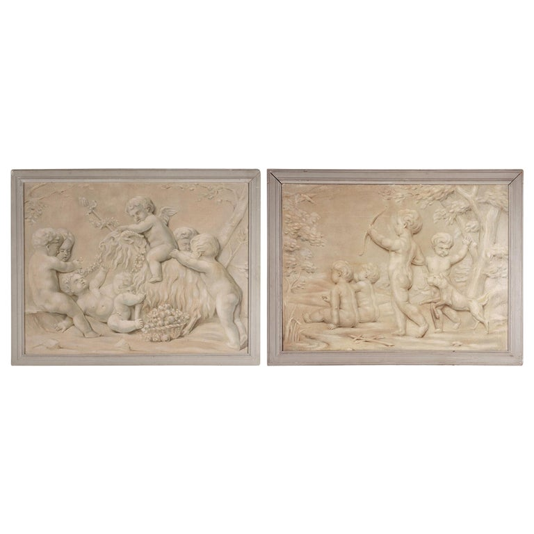 Pair of Trompe L'oeil Painting of Cherubs Playing, 19th Century For Sale