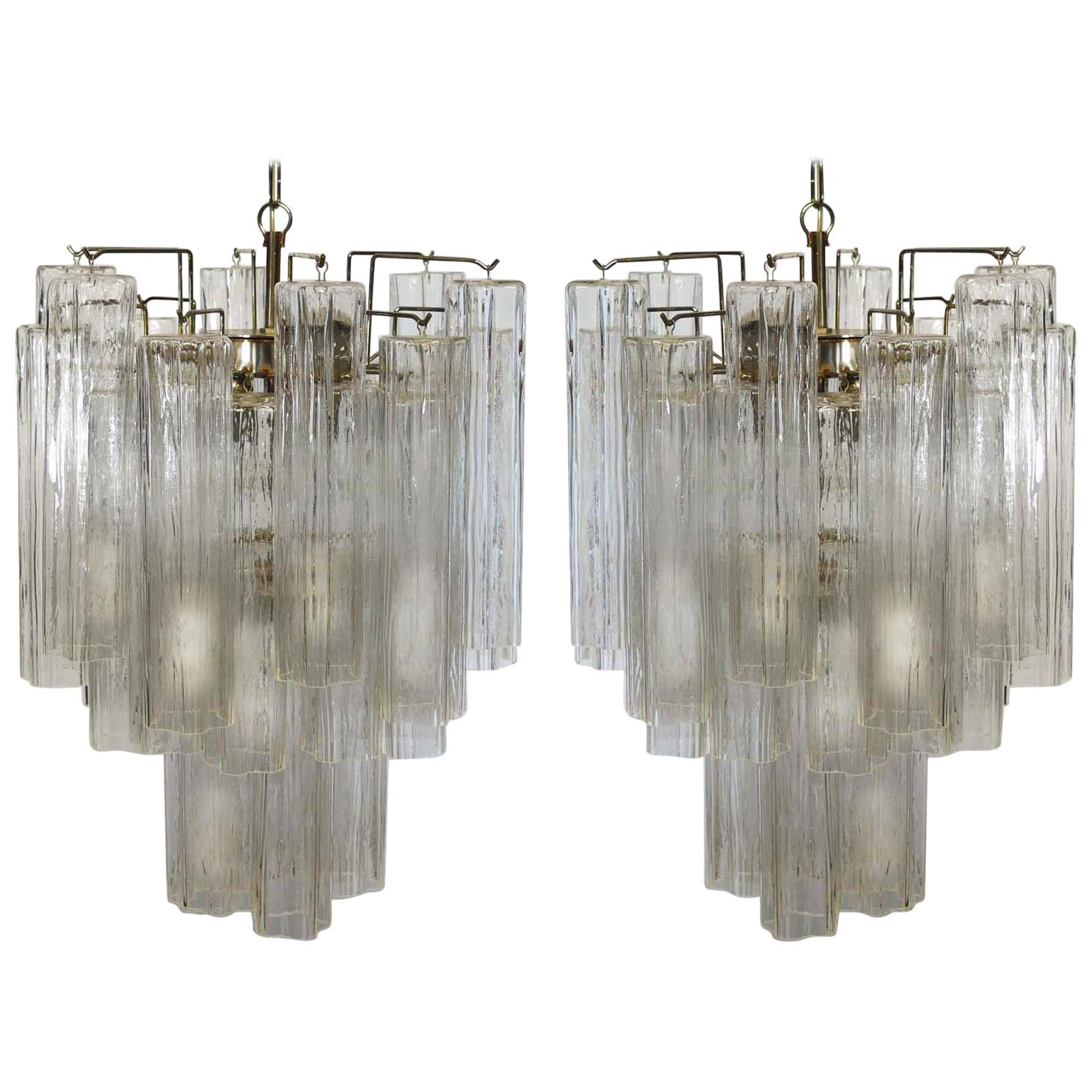 Pair of Tronchi Chandelier in Toni Zuccheri Style for Venini, Murano