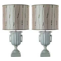 Pair of Trophy Cup Ceramic Table Lamps