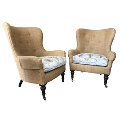 """Pair of """"Tropical"""" Colonial Style Wing Chairs"""