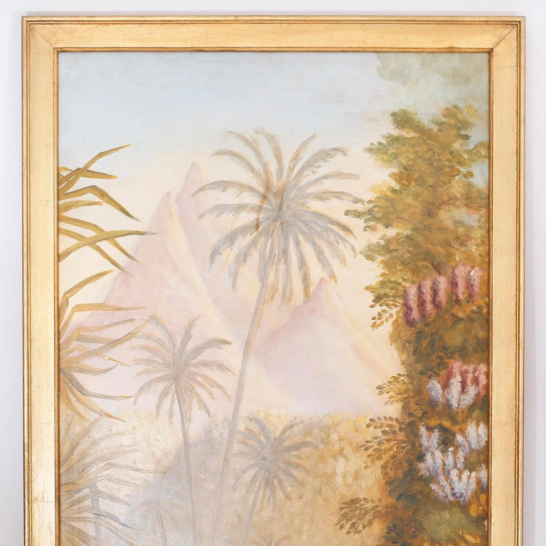 Pair of oil paintings on board of jungle scenes with mountains, rivers, Palm Trees, flowers, and exotic plant species executed in a misty technique that captures the heat and dreamy quality of a rain forest.