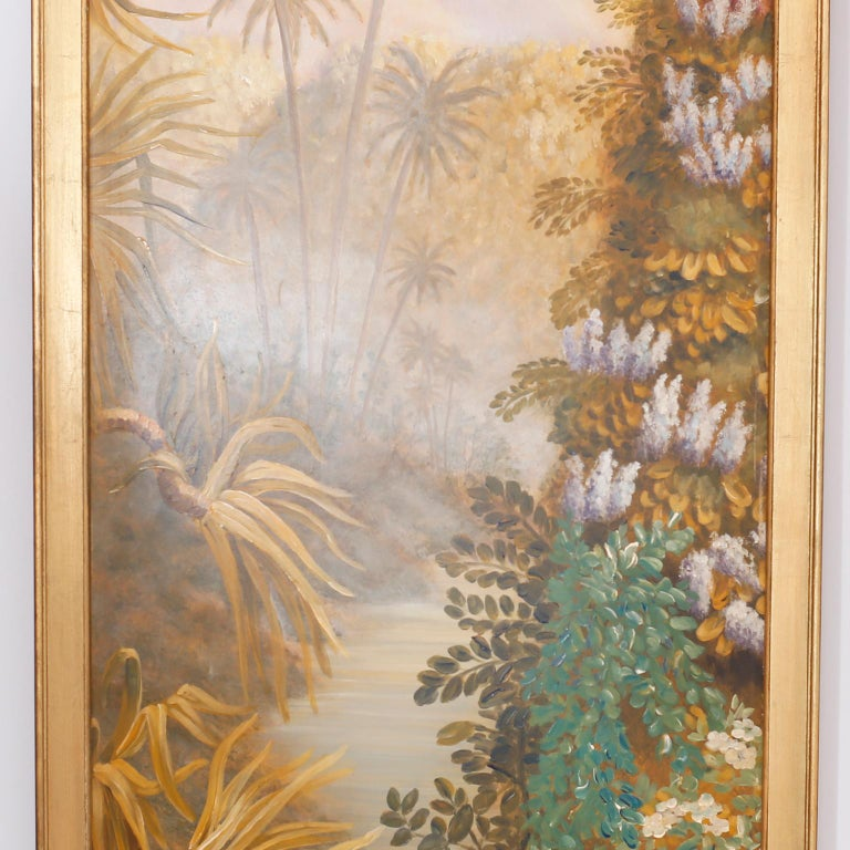 British Colonial Pair of Tropical Oil Paintings on Board For Sale