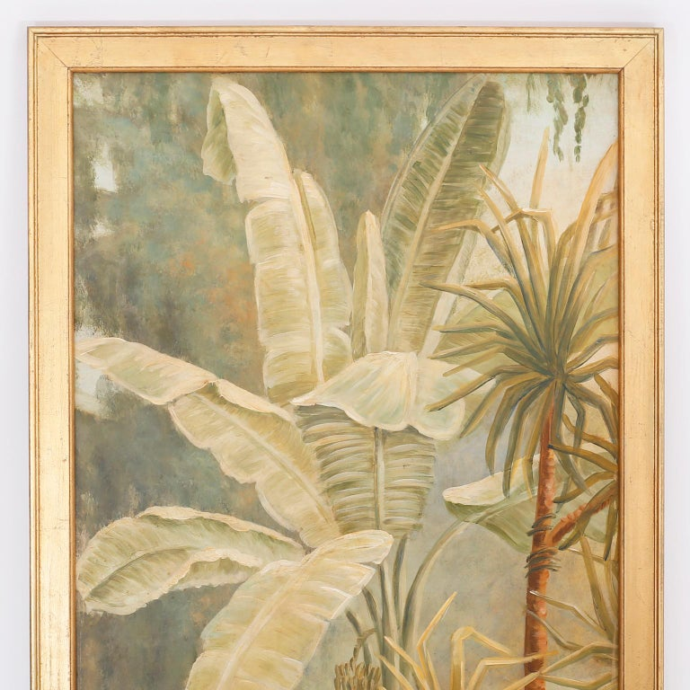 Oiled Pair of Tropical Oil Paintings on Board For Sale