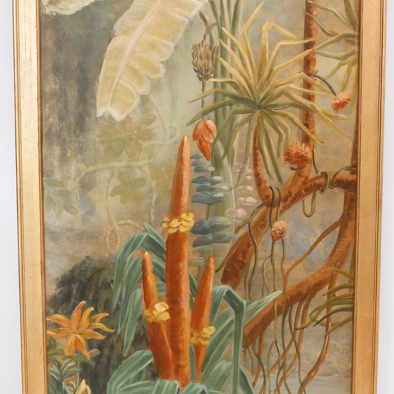 Pair of Tropical Oil Paintings on Board In Good Condition For Sale In Palm Beach, FL